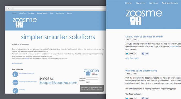 The old Zoosme logo and website before the redesign