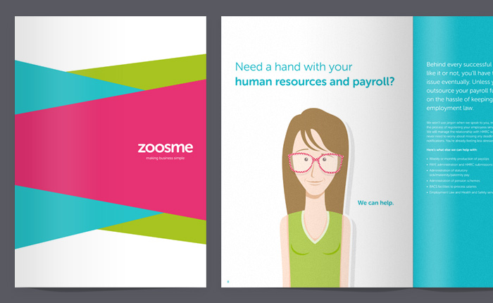 New Zoosme brochure cover and spread