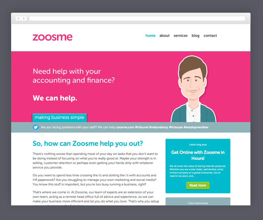 New Zoosme homepage featuring custom illustrations